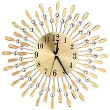 Reloj de pared grande 3D de 15 pulgadas, brillantes diamantes de imitación, estilo solar, decoración para sala de estar moderna