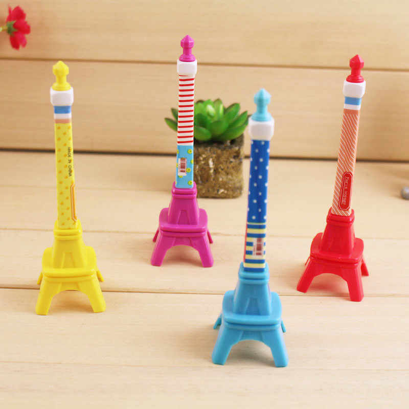 1PC Mini Cute Eiffel Tower Pen Stationery Stereo Tower Shape Ballpoint Pen Kawaii Stationery Gifts For Kids Girls