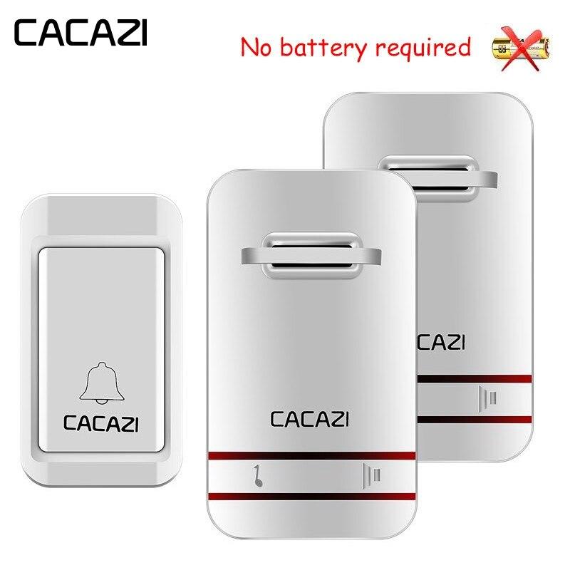 CACAZI auto propulsé sans fil sonnette bouton étanche sans batterie porte cloche EU US UK plug 120 m à distance 38 anneaux porte carillon
