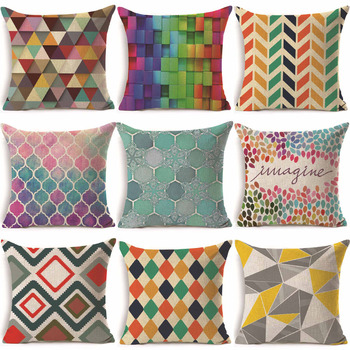 1Pcs 43*43cm Colorful Geometric Pattern Cotton Linen Throw Pillow Cushion Cover Car Home Sofa Decorative Pillowcase 40231