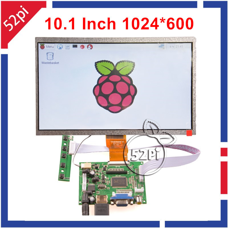 52Pi 10.1 Inch 1024*600 LCD Display HDMI Monitor TFT Screen ( HDMI+VGA+2AV ) for  Raspberry Pi / Windows 7 inch raspberry pi 3 touch screen 1024 600 lcd display hdmi interface tft monitor module compatible raspberry pi 2 model b
