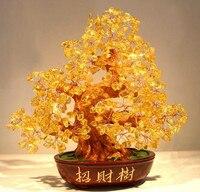 yellow crystal Lucky Tree shaking Qian Shu rich tree tree ornaments, crystal ornaments