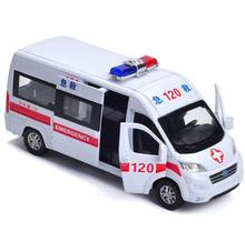 Children's educational toys 1:32 ambulance,Express truck alloy pull back car model diecast metal toy vehicles sound&light