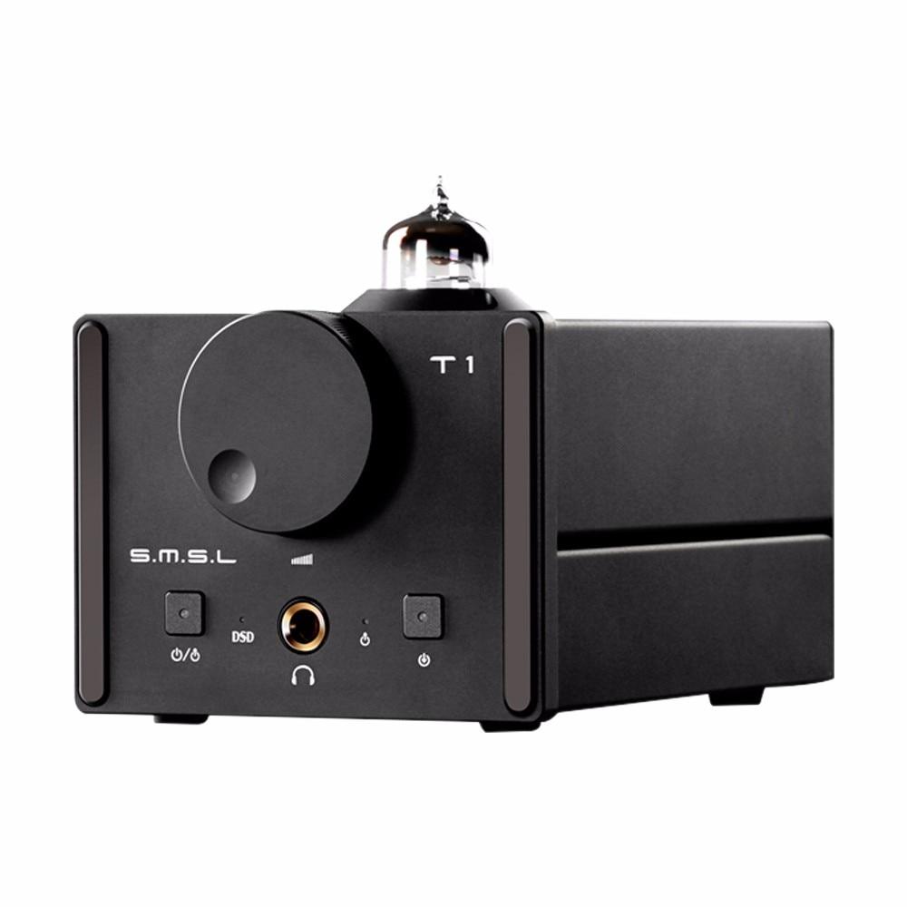 2016 New SMSL T1 AK4490EQ+CM6632A DAC DSD512 Tube Headphone Amplifier 384KHZ/32Bit OPTIC/Coaxial/XMOS/USB DAC Digital Tube Amp breeze audio dsd usb dac es9018k2m xmos u8 op275 2 lm49860 class a earphone decoder i2s dsd usb audio amplifier amp