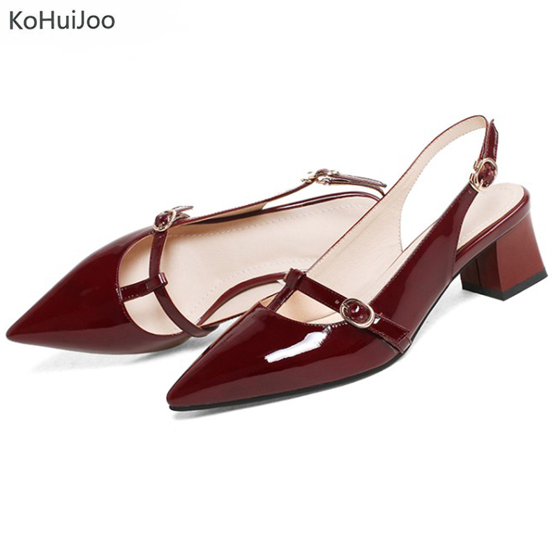 KoHuiJoo 2018 Fashion Spring Summer High Heel Women Sandals Shoes Genuine Leather Thin Heel Laides Slippers Wedges Casual Shoes new women sandals low heel wedges summer casual single shoes woman sandal fashion soft sandals free shipping