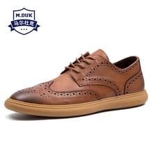 Spring Korean Mens Genuine Leather Block Business Leisure Shoes British Retro Lace-Up Men Dress casual shoes