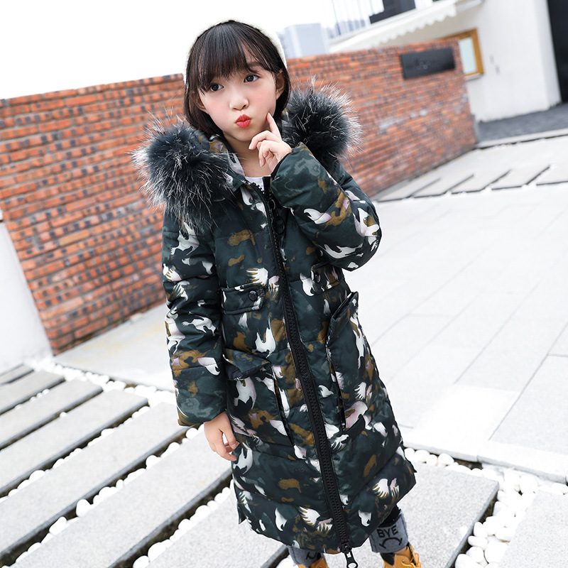 2017 New Winter Girl's Camouflage Down Jackets Baby Girl Long Sections Down Coat Thick Duck Down Warm Jacket Children Outerwears 2017 winter women jacket new fashion thick warm medium long down cotton coat long sleeve slim big yards female parkas ladies269