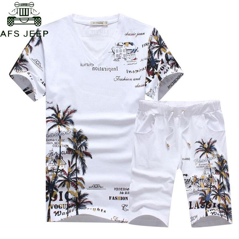2018 Fashion Summer Short Sets Men Casual Coconut Island Printing Suits For Men Suit Sets T Shirt +Shorts Pants Plus Size 5XL