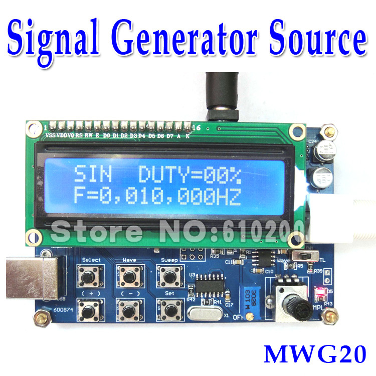 Free shipping MWG20 Figure DDS Signal Generator Source CPLD Design TTL signal output High Stabilize English interface 1Hz ~20MHz