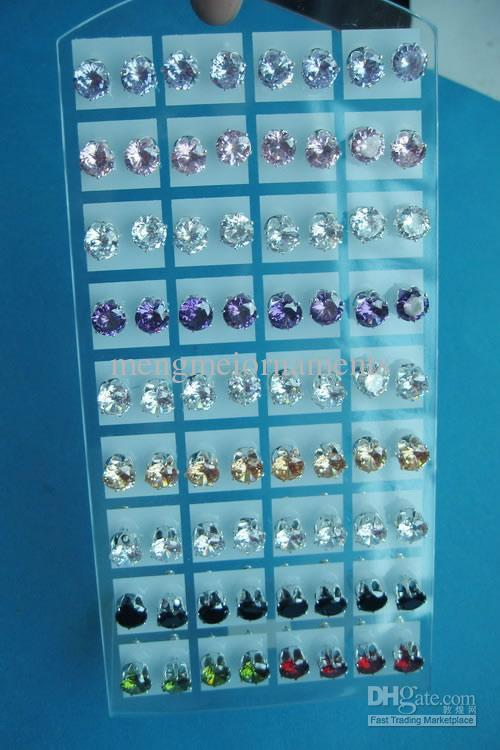 72pairs 8mm round real cubic zirconia rhinestone crystal earring studs jewelry carded display packing