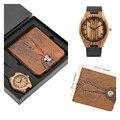 Стильный кошелек дерева комплект часов коричневую полоску Для Мужчин's деревянные кварцевые часы уникальные часы кошелек Подарки для него ...