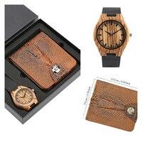Reloj de madera con estilo y cartera con rayas marrones para hombre  relojes de cuarzo de madera  relojes únicos  monedero  regalos para él  nueva llegada 2019