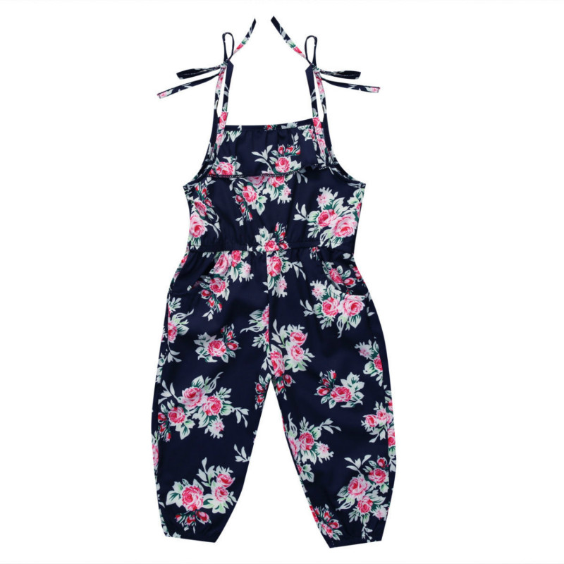 US Toddler Baby Girl Sleeveless Floral Romper Jumpsuit Overall Clothes Sunsuit