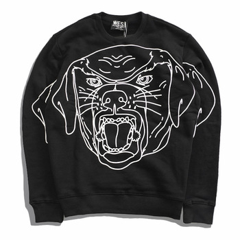 New  High Men Rottweiler Line sketch Rottweiler Hoodies Hoody hooded Sweatshirts velvet Cotton Drake Thicken Fleece #d18