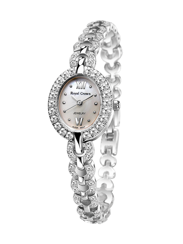 Royal Crown Jewelry Watch 2100B Italy brand Diamond Japan MIYOTA platinum Pearl Bracelet Rhinestone Crystal Girl's Gift royal crown jewelry watch 3632 italy brand diamond japan miyota platinum dress colorful bracelet brass rhinestone