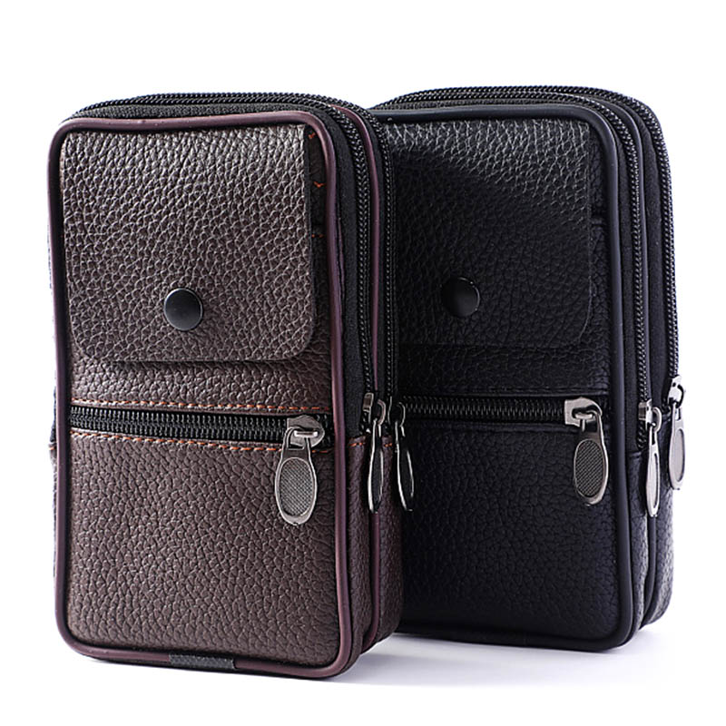 Men Wasit Bag PU Leather Zipper Card Holder Multi Pouch For Outdoor Travel Camping Hiking Cycling Male Bag Carteira Masculina