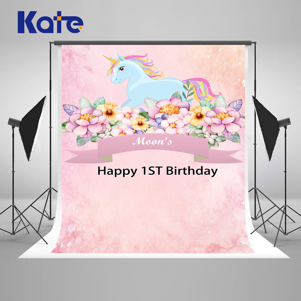 Kate Children Pink Photography Background 1st Newborn Custom Photo Background Photography Backdrop With Flowers Unicorn Photo kate dry land photography backdrops land photography background retro children custom backdrop props for newborn photo shoot