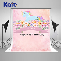 Kate Children Pink Photography Background 1st Newborn Custom Photo Background Photography Backdrop With Flowers Unicorn Photo