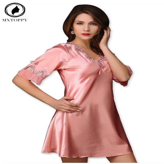 2017 New Hot Nightgown Victoria Sexy Silk Night Dress Lace Plus Size Short  Sleeve Pyjamas Women Nightwear Sleepwear 8e1946f6e