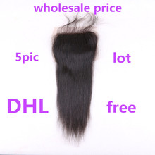 5 pieces lot Wholesale price Brazilian Silk Straight Human Hair 4*4 Silk Base Closure Bleached Knots Baby Hair  Can Be Dyed