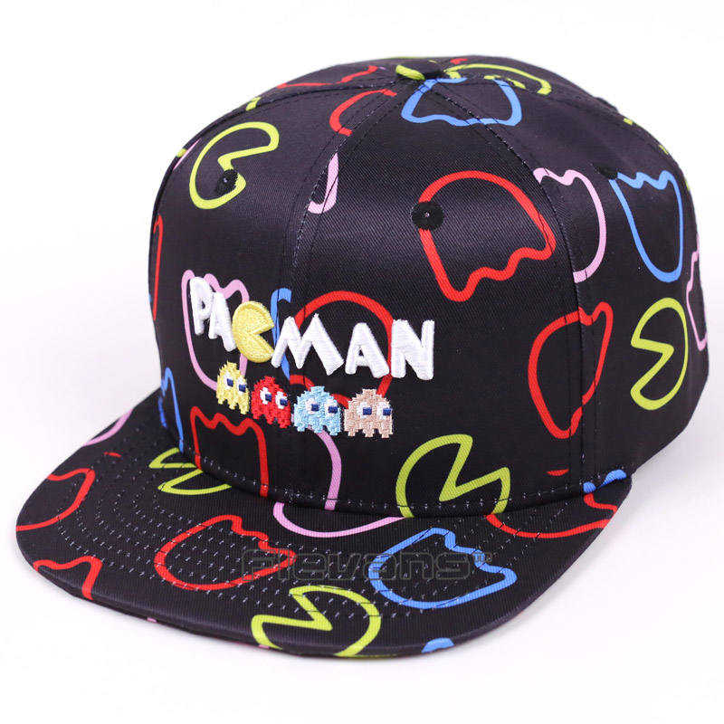 Pacman Snapback Baseball Cap Embroidery Hat For Men Women Pac Man Casual Hip Hop Caps