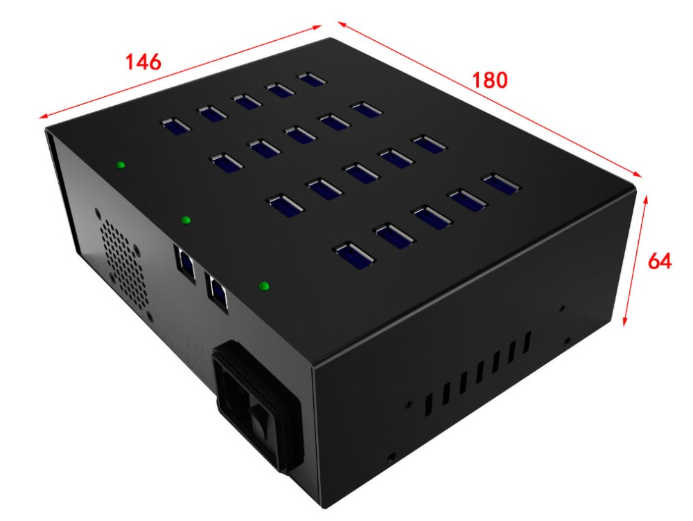 20 Port USB 3.0 Metal Industrial built-in 100W Power Supply