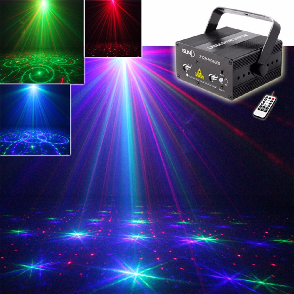 AUCD Remote Music Red Green Blue  RGB Laser Stage Light Blue LED Mixing Effect DJ Show Projector Party Lighting  Z12R-RGB300 mini rgb laser projector light red green blue mixing dj disco stage lighting effect for bar club party show lights