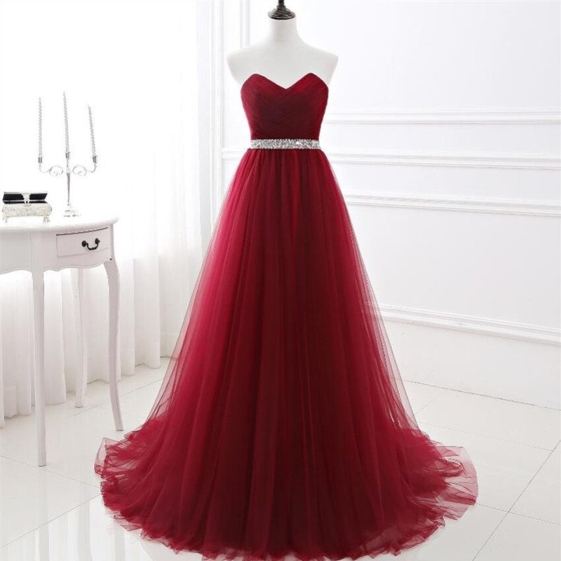 In Stock Wine Red   Prom     Dresses   A-line Pleated Tulle Party Gowns Crystal Beading Sash Woman Formal Occasion   Dress   Evening Gown