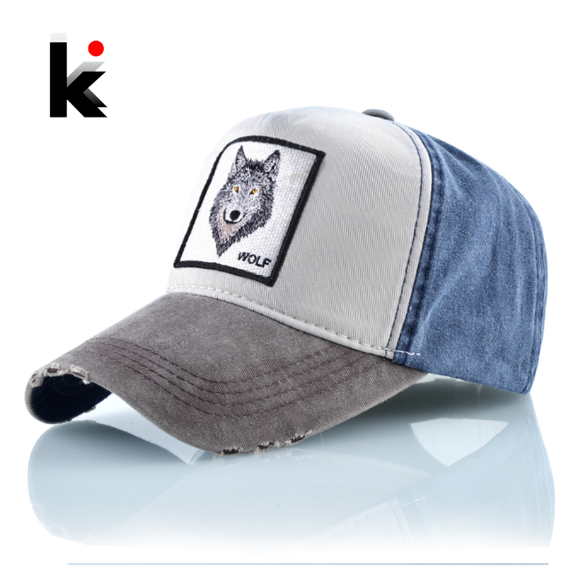 Unisex   Baseball     Cap   Men Women Fashion Animals Embroidery Snapback Hat Spring Summer Cotton Washed denim Hip Hop Bone Casquette