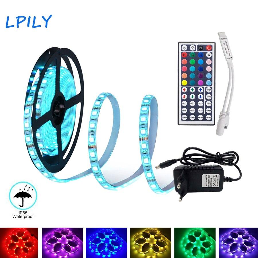 5 m 10 m 15 M tira de LED 2835 5050 tira de luz led no resistente al agua tira RGB cinta de diodo de cinta led con control remoto IR y adaptador DC 12 V
