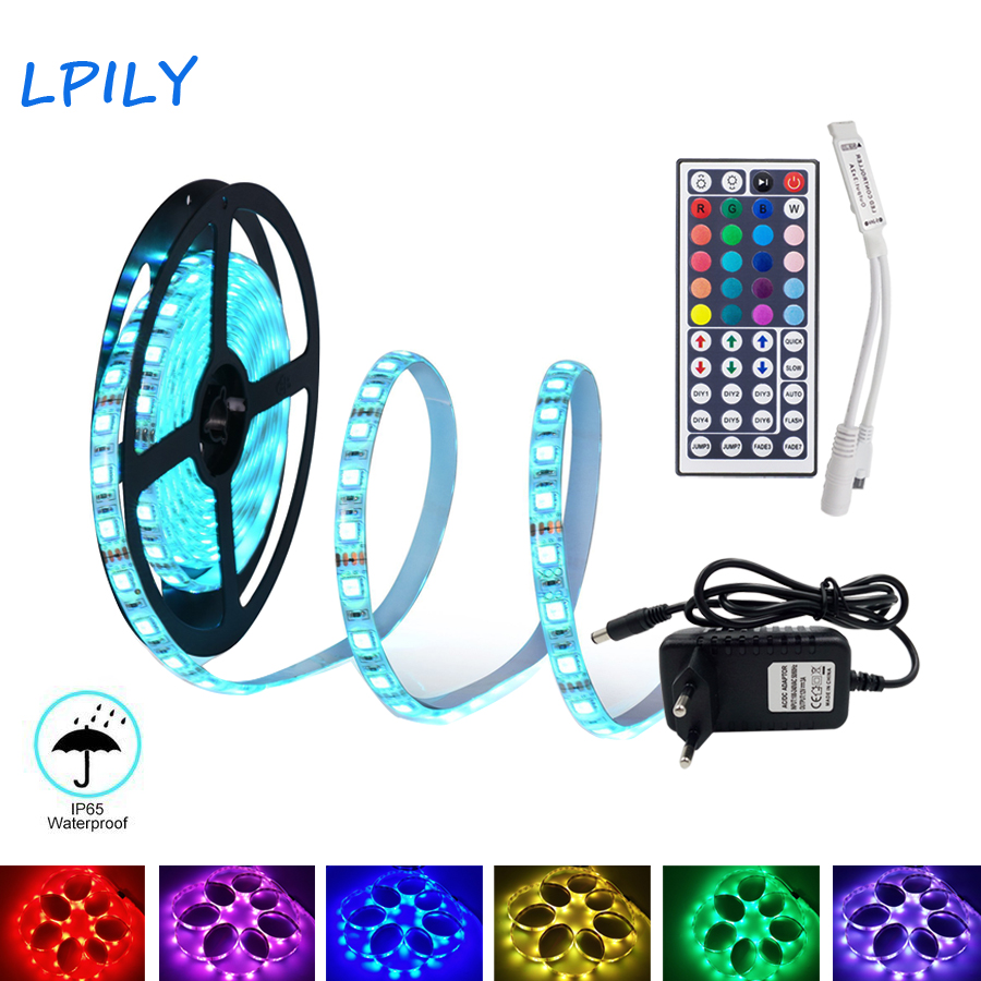 5m-10m-15m-led-strip-2835-5050-led-strip-light-non-waterproof-rgb-strip-led-ribbon-diode-tape-with-ir-remote-and-dc-12v-adapter