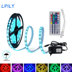 5M 10M 15M LED Strip 2835 5050 led strip light non waterproof RGB strip led ribbon diode tape with IR remote and  DC 12v adapter