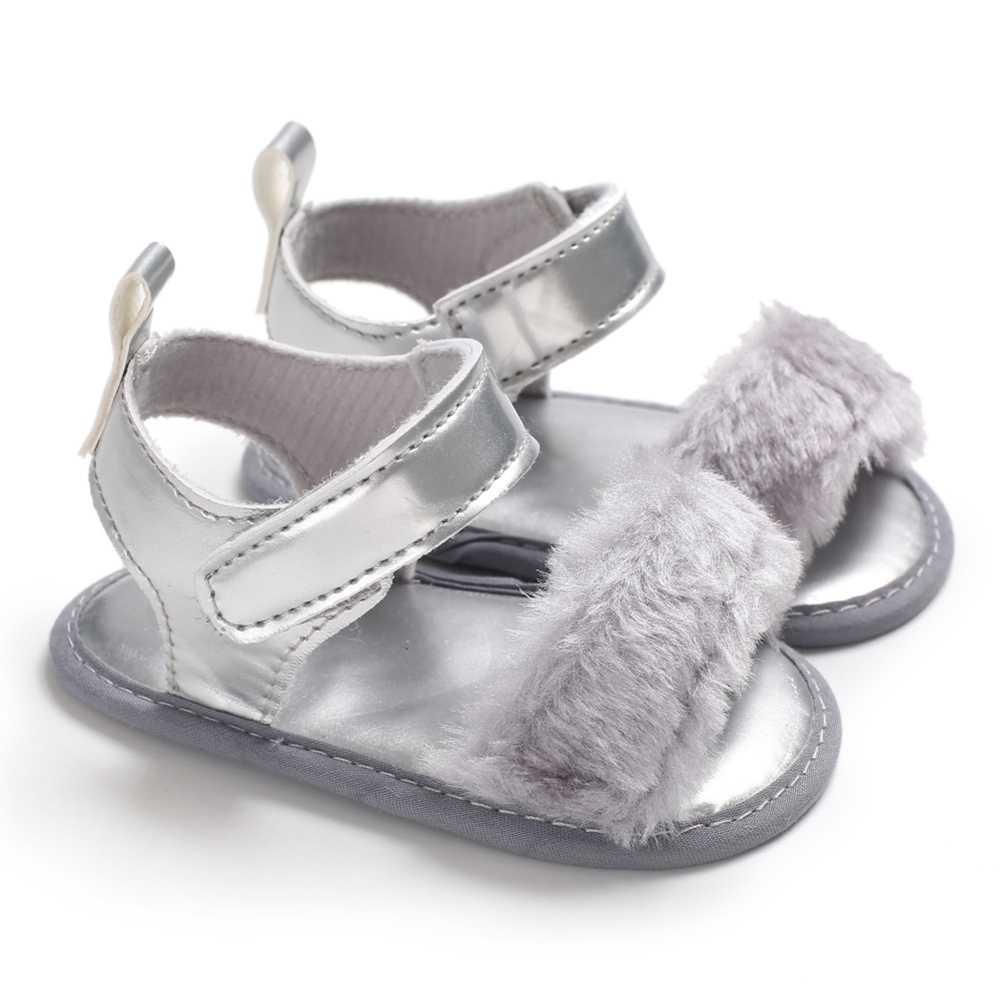 Сандалии для девочек для новорожденных; обувь для маленьких девочек; модная облегающая детская обувь с искусственным мехом; детские летние сандалии для девочек от 0 до 18 месяцев