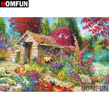 HOMFUN 5D DIY Diamond Painting Full Square/Round Drill House garden Embroidery Cross Stitch gift Home Decor Gift A08292 homfun full square round drill 5d diy diamond painting garden