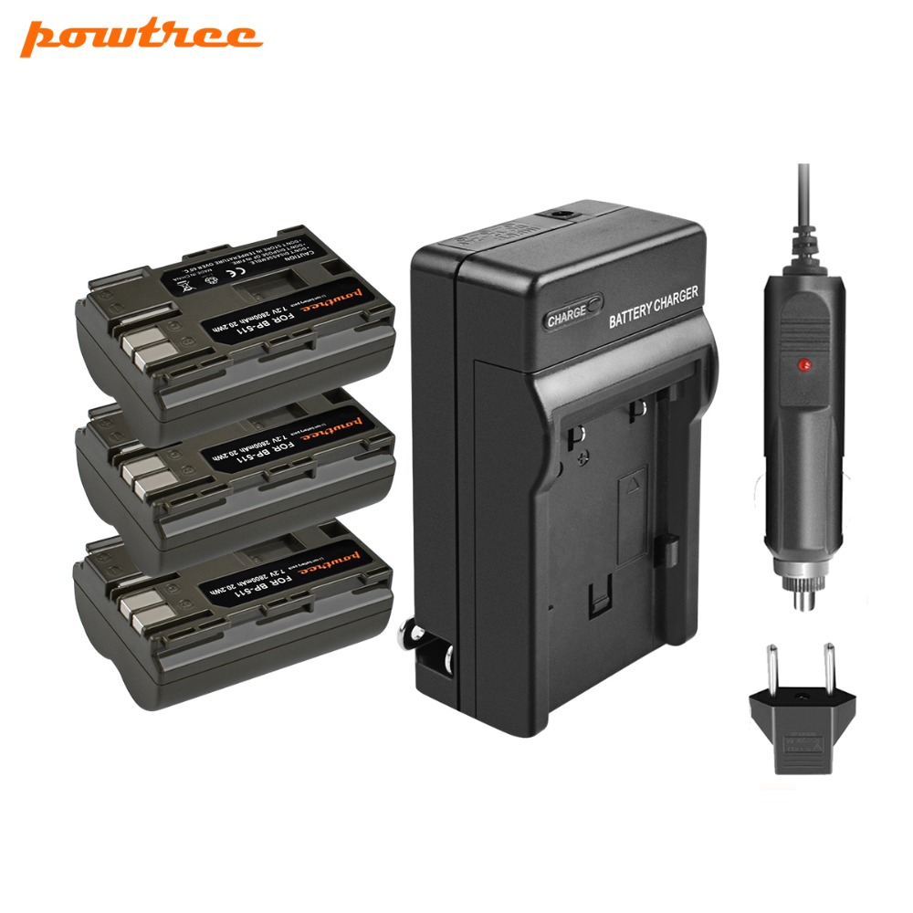 Powtree For Canon 3PCS 7.2V 2800mAh BP511 BP-511 BP 511 BP511A Camera Battery + Charger EOS 300 10D 20D PowerShot G1 G2 G3