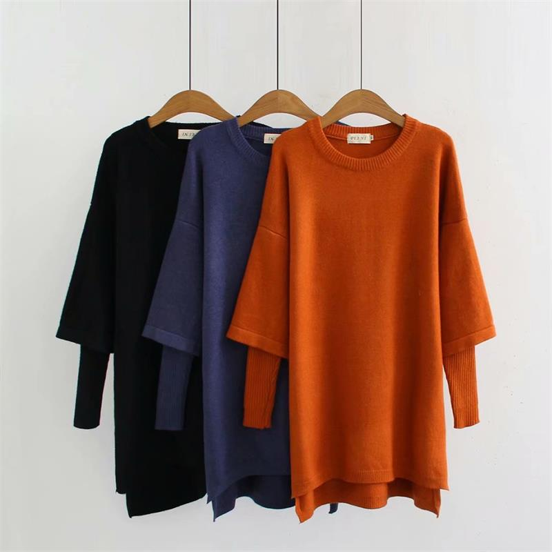 Elastic Black & Orange & Blue Autumn Winter Women Pullovers 2018 New Fashion O-Neck Elastic Knitted Ladies Sweater Wool Female