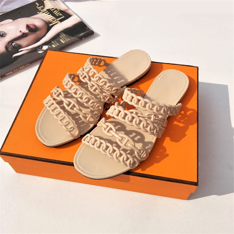 Summer Shoes Woman Slides Slippers Brand Designer Woman Plastic Patent Leather Casual Flats Outdoor Slippers Women Beach Shoes