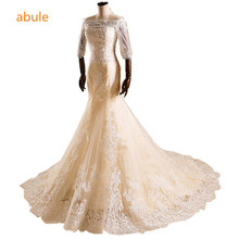abule Wedding Dresses 2017 Romantic Illusion Mermaid Sexy Backless lace up Three Quarter Custom Wedding Gowns Vestido De Noiva