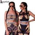 2016 Novo Ocasional Mulheres 2 Peça Set Curto Cortar Tops + Calças compridas Femininas Floral Clubwear Senhoras Macacão Sexy Macacão de Corpo Inteiro