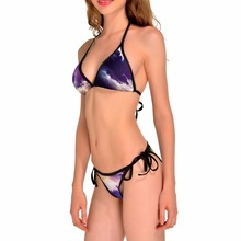 NEW 0150 Sexy Girl Summer Purple Moon Star cloud Galaxy 3D Prints Thongs Bikini Set Swimsuit