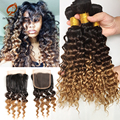 7A Ombre Peruvian Deep Curly With Closure 3 Bundles With Closure Ombre Deep Wave Weave Closure Peruvian Deep Curl With Closure