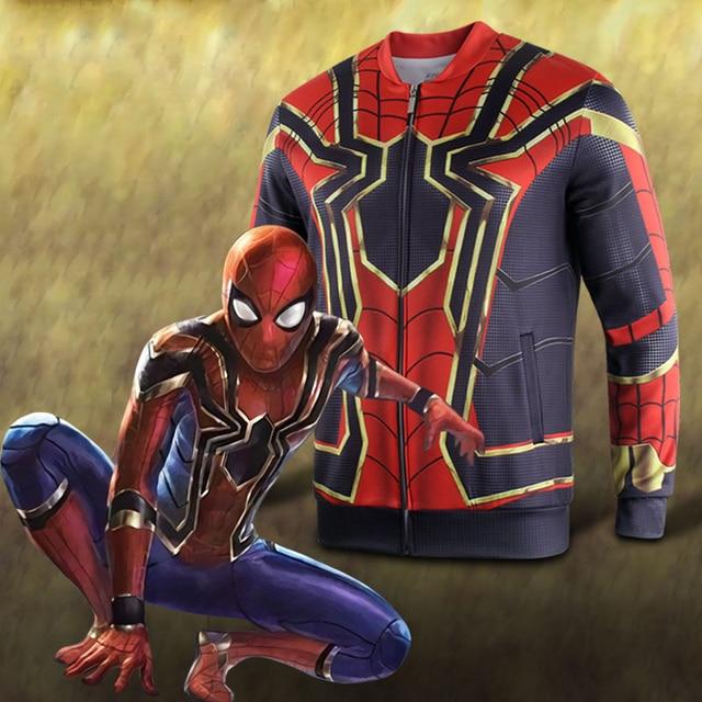 e130dac7d 2018 Avengers Infinity War Spiderman Jacket HOODIE Cosplay Costume Sweat  Baseball Spiderman Superhero 3D Sports Halloween Party