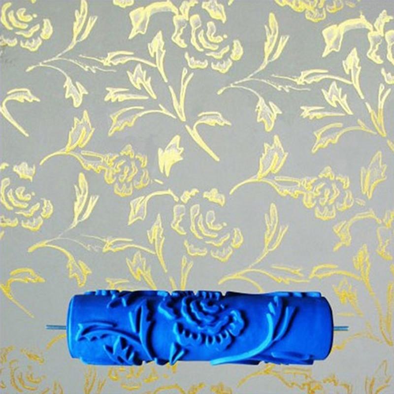 7 palcový 3D gumový nástěnný dekorační malířský váleček, vzorované nástroje na zdobení válečkových zdí bez uchopení rukojeti, růžový válec, 110C