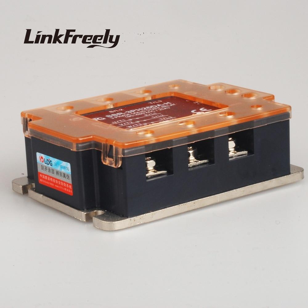 цена на SSR-3PH25DA-H Three Phase AC Solid State Relay LED Indicator 25A/480VAC Input:3V 5V 12V 24V DC control AC SSR Relay Switch Board