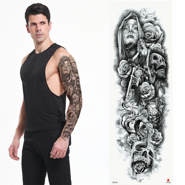 2018 New Full Flower Arm Tattoo Sticker Skeletons and Roses Temporary Body Paint Water Transfer Tattoo Sleeve