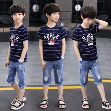 Sport Suits Teenage Summer Boys Clothing Sets Short Sleeve T Shirt & Pants Casual 3 4 5 6 7 8 9 10 Years Child Boy Clothes 2017 new fashion print baby boys t shirt hip hop dance harem pants boy 4 6 8 10 12 14 year sport clothes suits kids clothing set