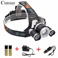 18650 Battery/Charger to djustable focus 8000LM 3x XM-L LED Headlight 8000 Lumen Head Lamp Flashlight Torch Lanterna Headlamp