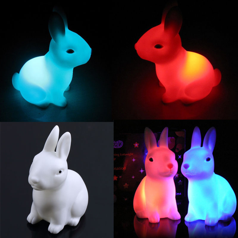 Hotsale Color Changing Rabbit Led Night Light Dimmable for Children Baby Kids Gift Animal Cartoon Decorative Lamp beiaidi 7 color usb rechargeable rabbit led night light dimmable animal cartoon light with remote baby kids christmas gift lamp