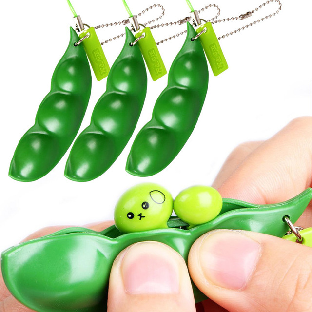 New Anti Stress Baby Toys Extrusion Pea Bean Soybean Edamame Antistress Relieve Keychain Jokes Children Gift Squeeze Toy Gadget