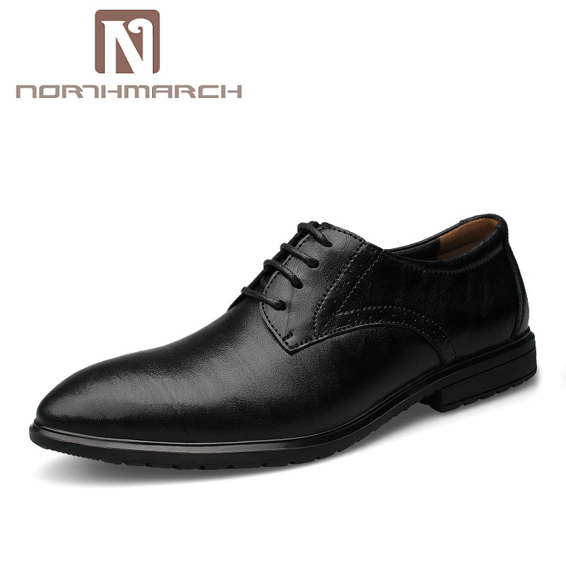 NORTHMARCH Men Dress Shoes Leather Italian Brand Oxford Shoes For Men Lace-Up Business Derby Shoes Men Zapatos Hombre Formal sexy halter flounced polka dot three piece swimsuit for women page 3 page 1 page 1